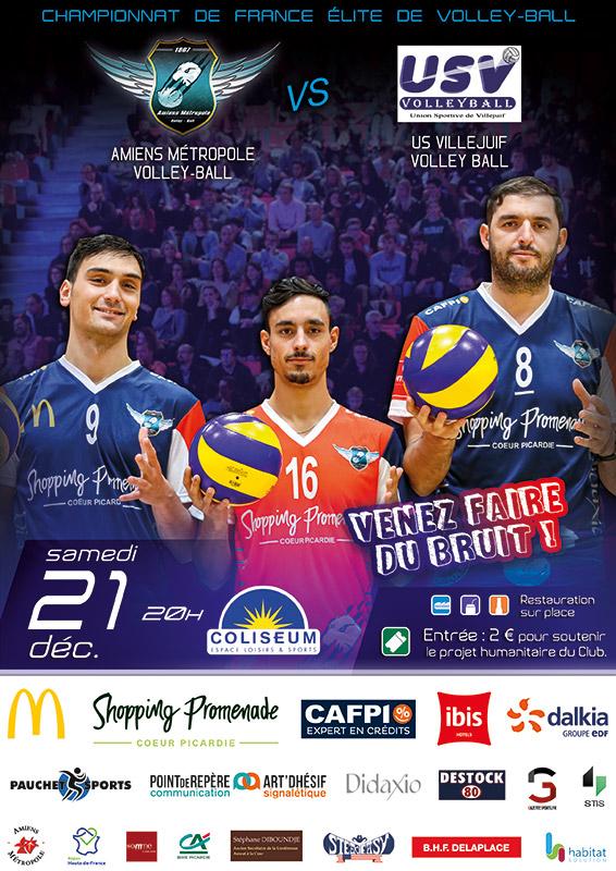 Championnat de France Élite de volley ball - AMVB / US VILLEJUIF - 21 décembre 2019 - Coliseum, Amiens
